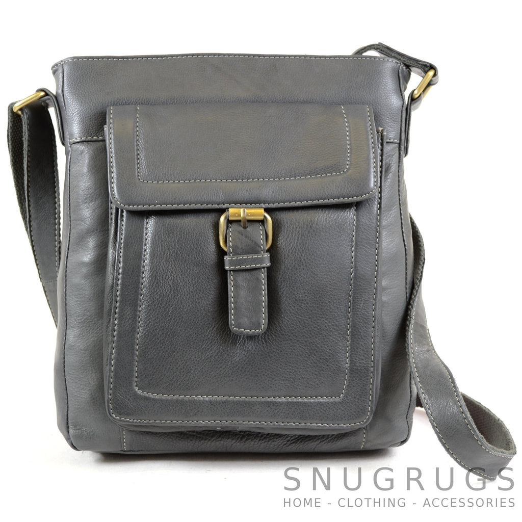 Sienna - Soft Premium Leather Shoulder / Cross Body Bag - Charcoal