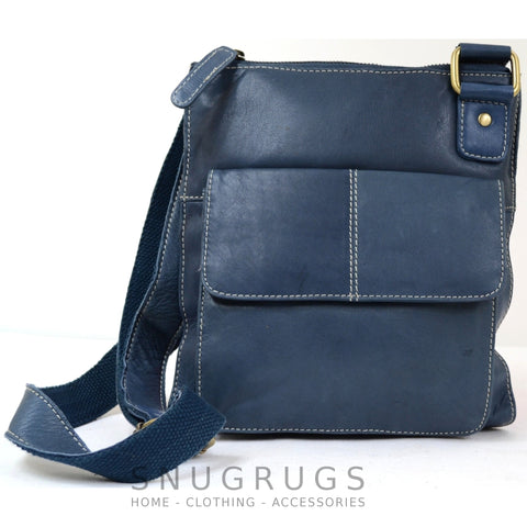 Iris - Leather Shoulder / Cross-Body Bag - Blue