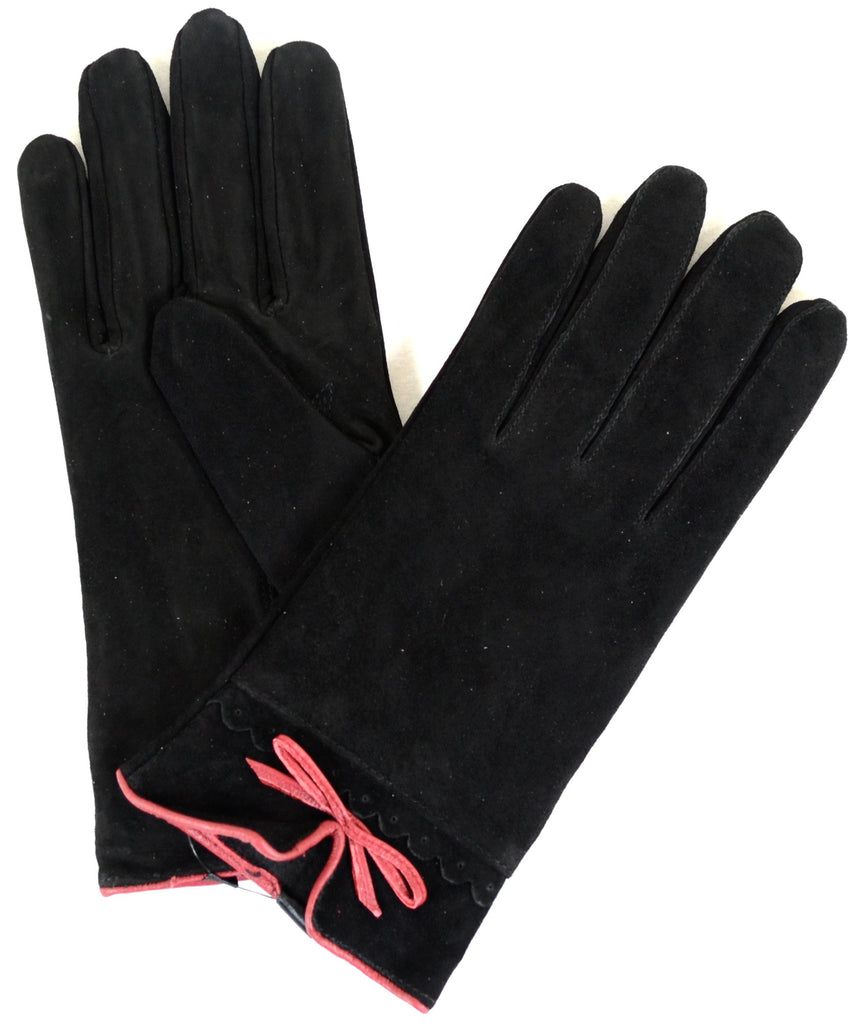 Suede Gloves with Fleece Lining and Bow Feature - Black