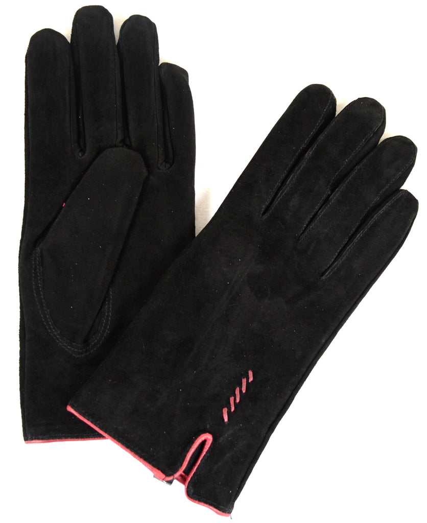 Suede Gloves with Fleece Lining and Stitch Design - Black
