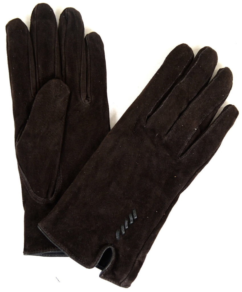 Suede Gloves with Fleece Lining and Stitch Design - Brown