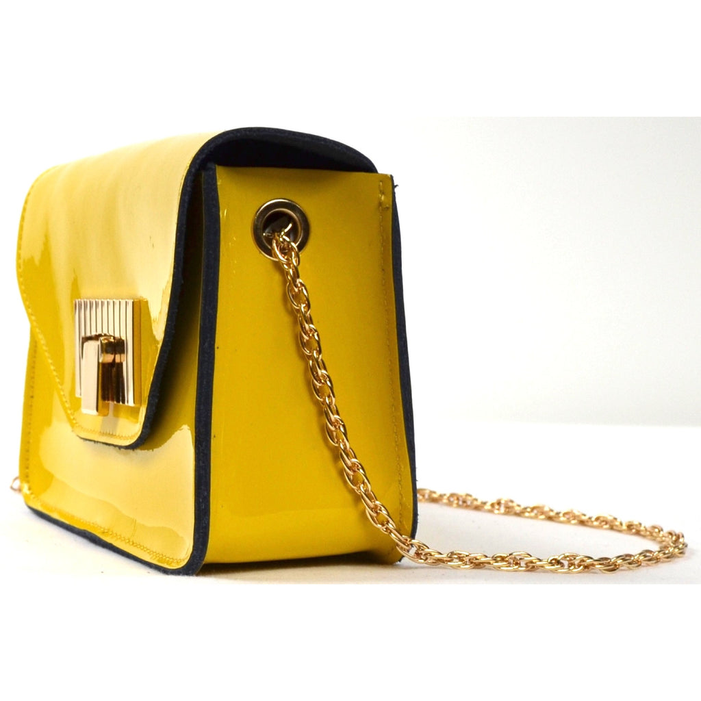 Patent Leather Shoulder Bag with Chain Strap - Yellow