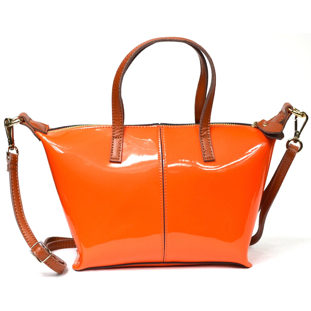 Patent Leather Tote Bag with Leather Strap - Orange