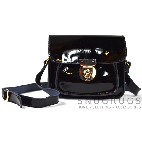 Patent Leather Shoulder Bag with Leather Strap - Black