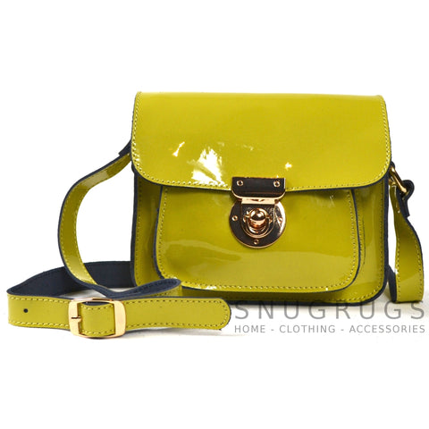 Patent Leather Shoulder Bag with Leather Strap - Lime Green
