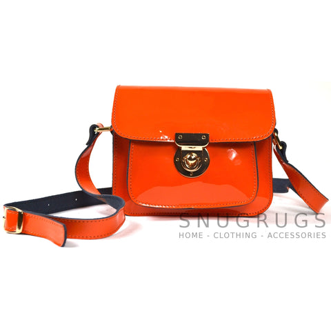 Patent Leather Shoulder Bag with Leather Strap - Orange