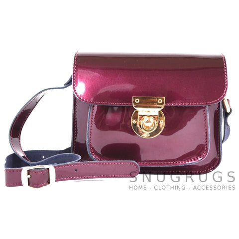 Patent Leather Shoulder Bag with Leather Strap - Purple