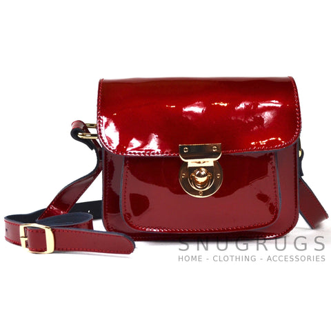 Patent Leather Shoulder Bag with Leather Strap - Red