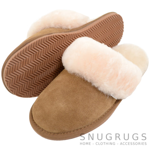 Elsie - Sheepskin Mule Slipper with Cuff - Chestnut