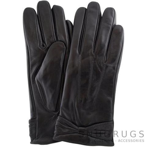 Alwen - Leather Gloves with Ruched Bow Design - Black