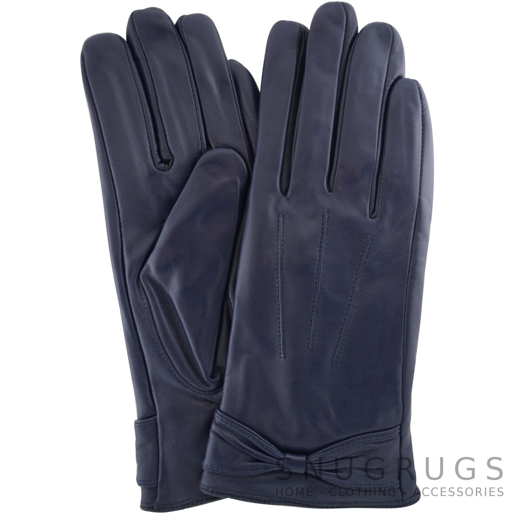 Alwen - Leather Gloves with Ruched Bow Design - Blue