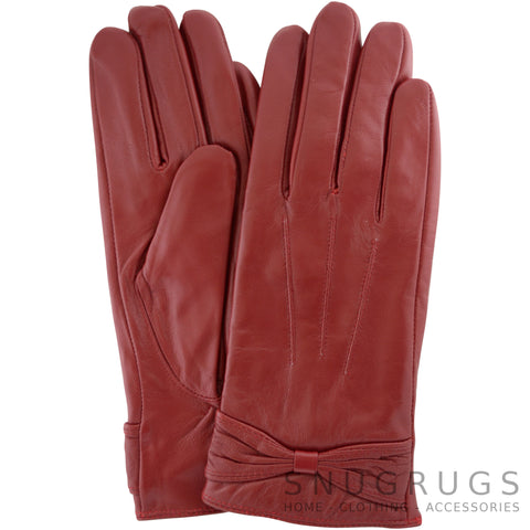 Alwen - Leather Gloves with Ruched Bow Design - Berry Red