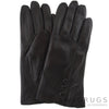 Rhian - Leather Gloves with Triple Button Feature - Black