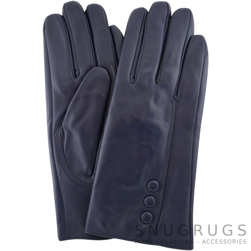 Rhian - Leather Gloves with Triple Button Feature - Navy Blue