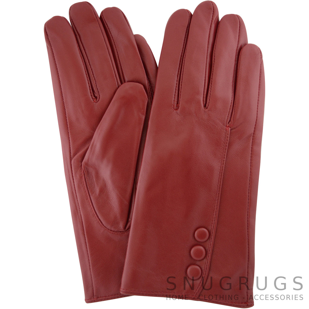 Rhian - Leather Gloves with Triple Button Feature - Berry Red