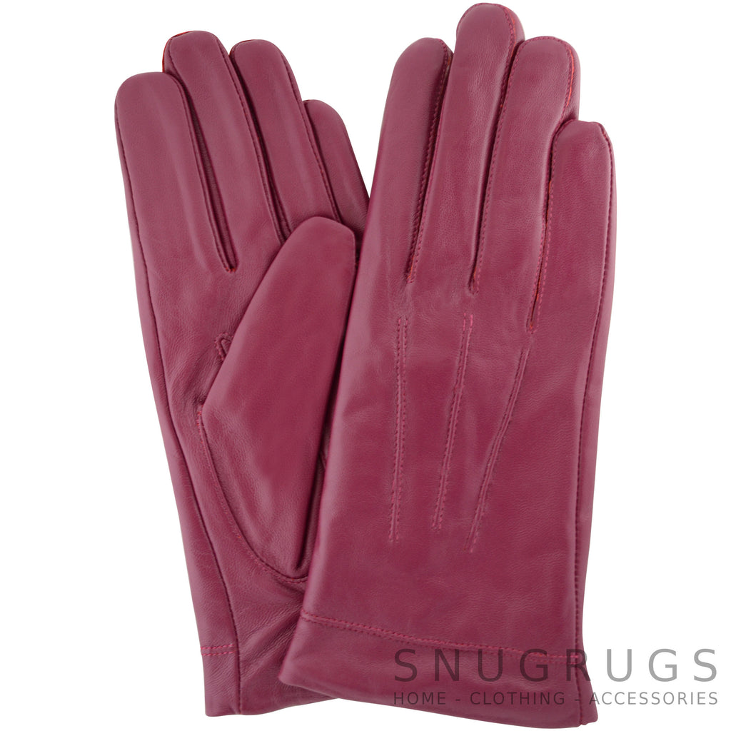 Mavis - Leather Gloves with Triple Twisted Three Point Stitch - Pink
