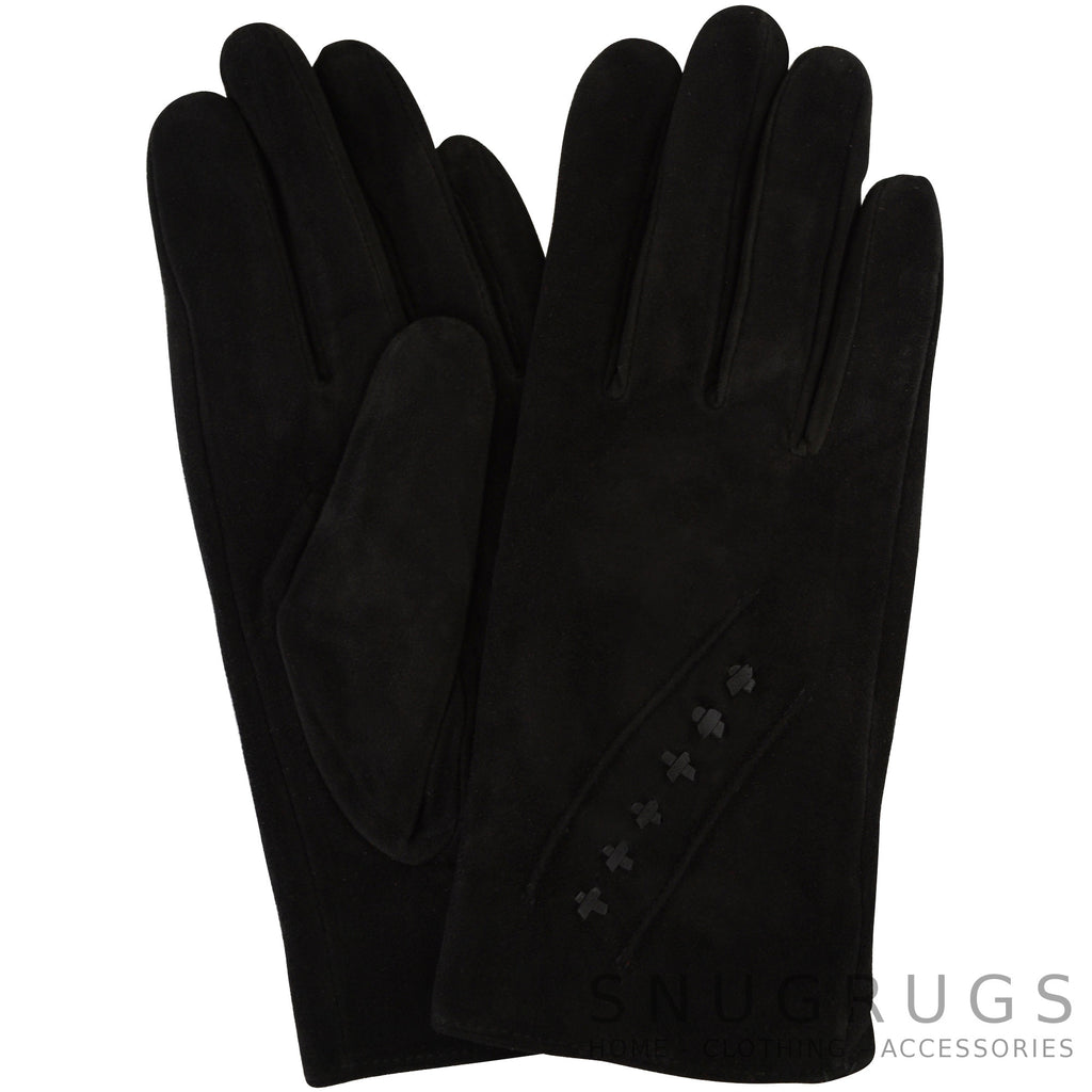 Suede Gloves with Fleece Lining and Star Stitch Design - Black