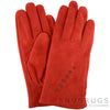 Suede Gloves with Fleece Lining and Star Stitch Design - Cherry Red