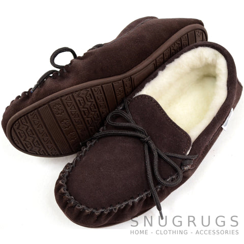 Wool Lined Suede Moccasin with Rubber Sole - Dark Brown