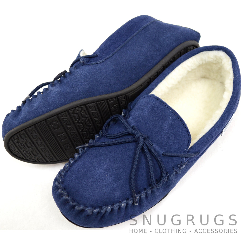 Wool Lined Suede Moccasin with Rubber Sole - Navy
