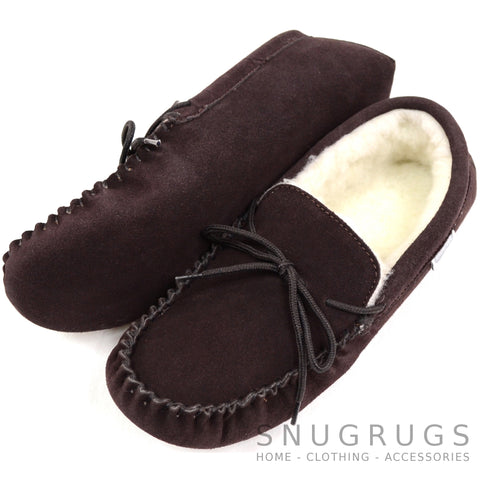 Wool Lined Suede Moccasin with Soft Sole - Dark Brown