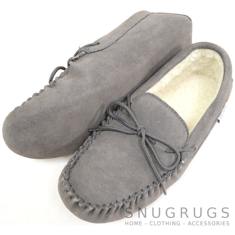Wool Lined Suede Moccasin with Soft Sole - Grey