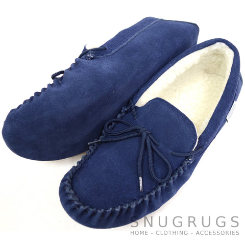 Wool Lined Suede Moccasin with Soft Sole - Navy