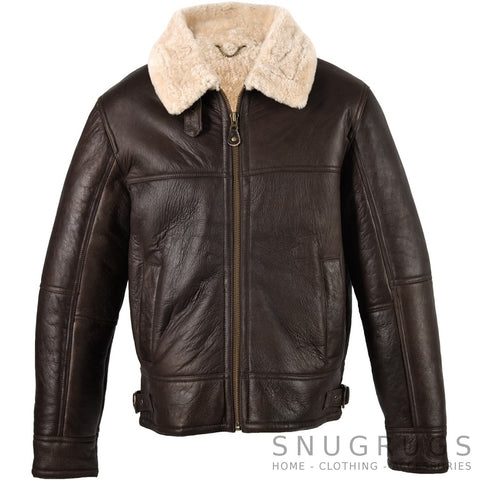 Shaun - Sheepkin Aviator Flying Jacket with Natural Finish
