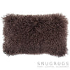Mongolian Sheepskin Cushion 30cm x 50cm - Brown