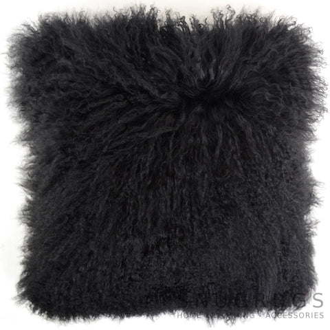 Mongolian Sheepskin Cushion 40cm x 40cm - Black