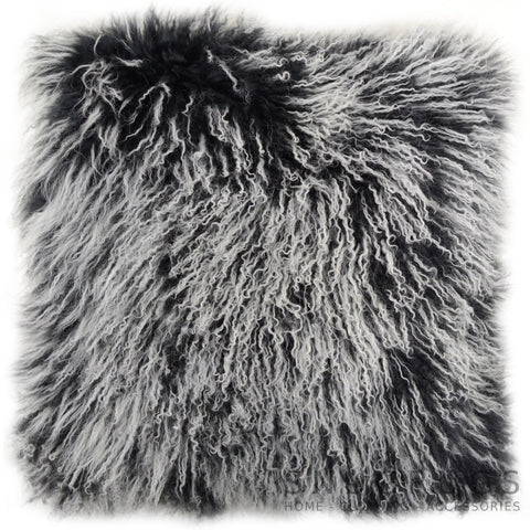 Mongolian Sheepskin Cushion 40cm x 40cm - Black/White