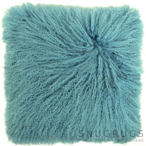 Mongolian Sheepskin Cushion 40cm x 40cm - Aqua Blue