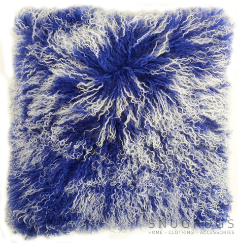 Mongolian Sheepskin Cushion 40cm x 40cm - Blue/White