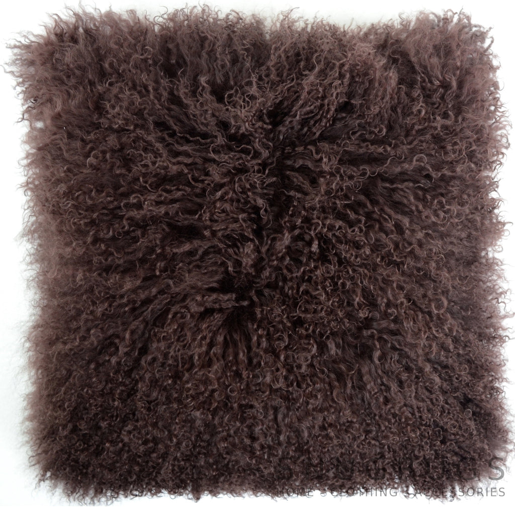 Mongolian Sheepskin Cushion 40cm x 40cm - Chocolate Brown