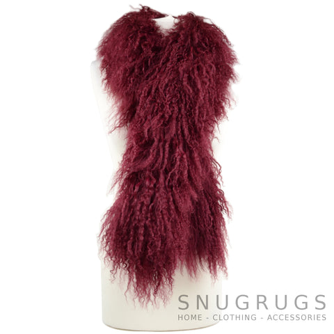Mongolian Sheepskin Scarf - Burgundy Red