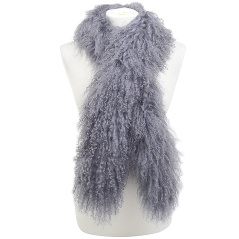 Mongolian Sheepskin Scarf - Grey