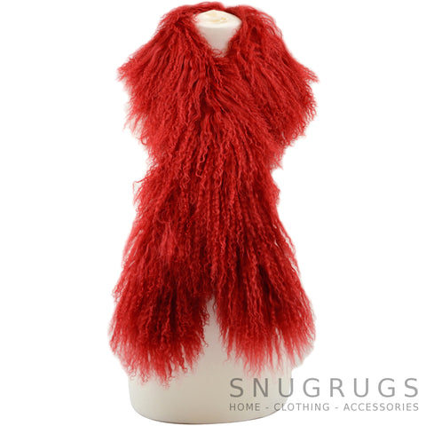 Mongolian Sheepskin Scarf - Red