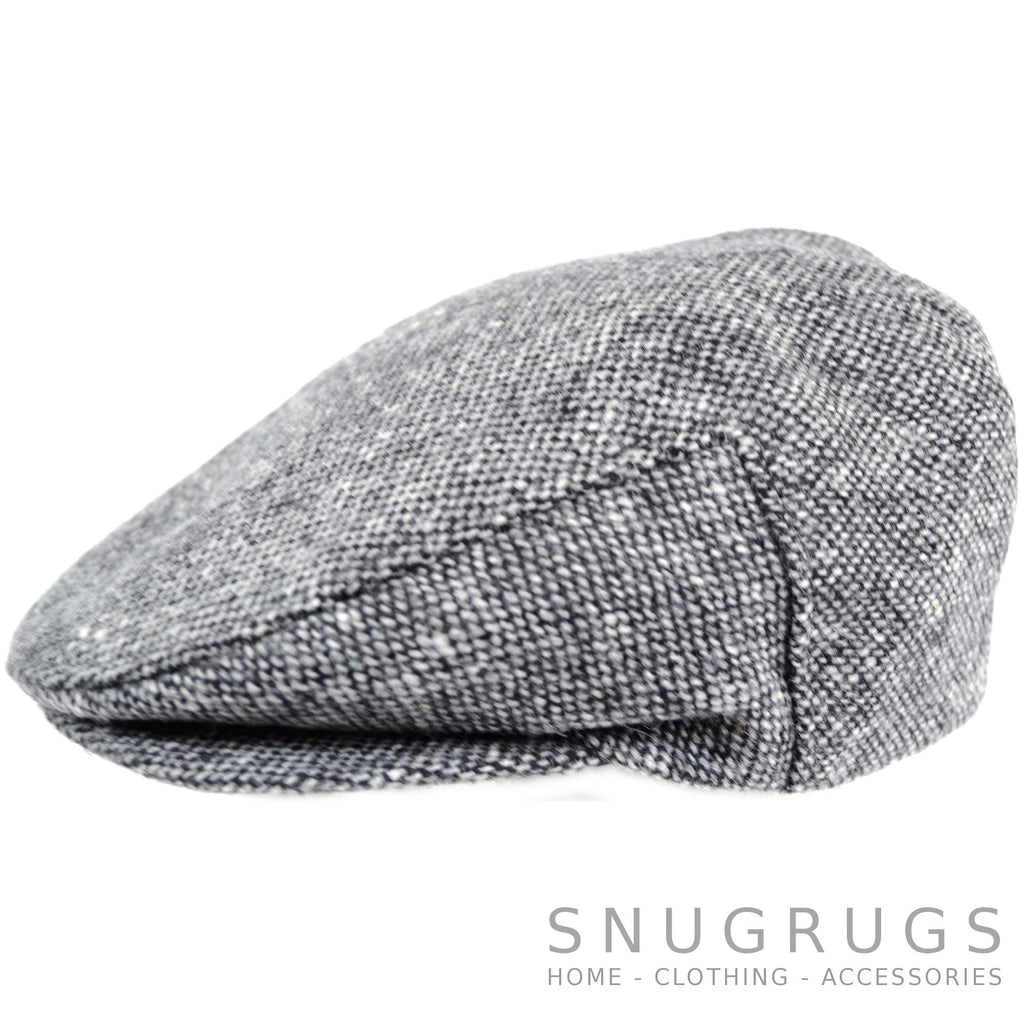Tweed Shooting Flat / Peak Cap - Grey/Black