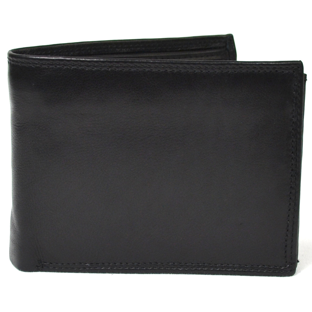Sam - Prime Hide Leather Tri-Fold Wallet - Black