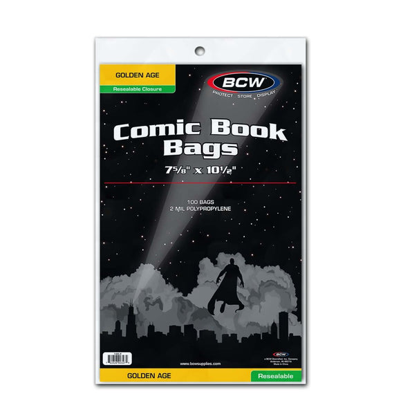 BCW Resealable Golden Comic Bags (100ct)