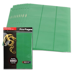BCW Side-Loading 18-Pocket Pro Pages (10ct) - Green