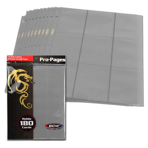 BCW Side-Loading 18-Pocket Pro Pages (10ct) - Grey