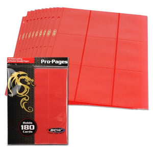 BCW Side-Loading 18-Pocket Pro Pages (10ct) - Red