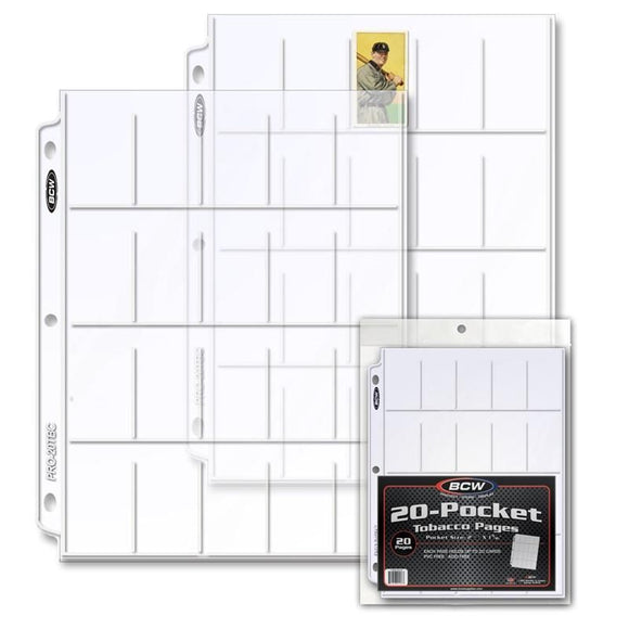 BCW 20-Pocket Tobacco Card Pages (20ct)