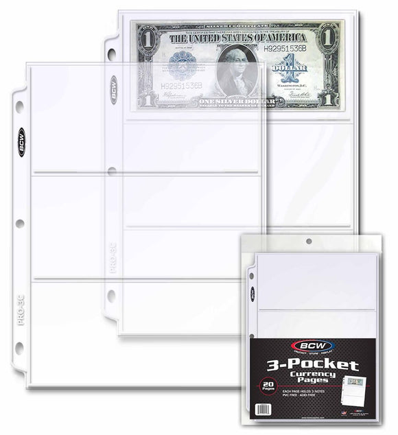 BCW Pro 3-Pocket Currency Pages (20ct)