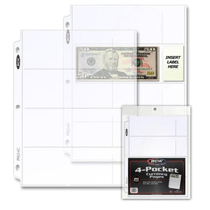 BCW Pro 4-Pocket Currency Pages (20ct)