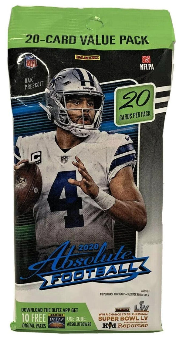 2020 Panini Absolute NFL Football - Cello/Fat/Value Pack