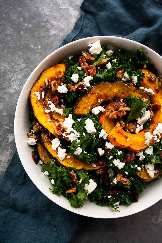Kale Salad with Acorn Squash, Goat Cheese, and Nutnola