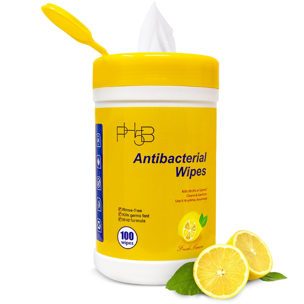 Antibacterial Wipes Canister 100ct - Lemon-PH5B Cosmetics