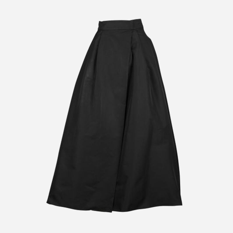 PINKO-1G15MR-8399-Z99-GONNA-PROPENSO-LUNGA-IN-TAFFETA-CON-SPACCO-NERO